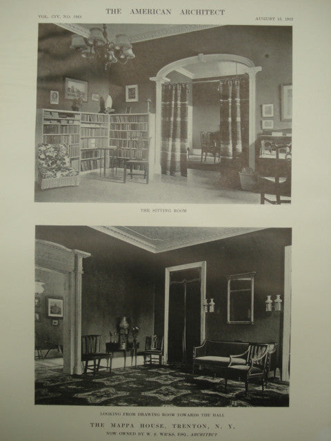 Interior of the Mappa House, Trenton, NY, 1913, W. S. Wicks