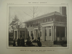 House of B. D. Watkins, Esq., Druid Hills, Atlanta, GA, 1913, Messrs. Hentz & Reid