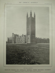 View from the Northwest of the Graduate College and Cleveland Memorial Tower at Princeton University, Princeton, NJ, 1913, Cram, Goodhue & Ferguson