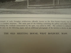 Old Meeting House , West Roxbury, MA, 1913, Unknown