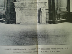 Senate Reading-Room: Library of Congress , Washington , DC, 1897, Smithmeyer & Pelz and P.J. Pelz, E.P. Casey