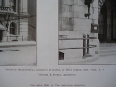 American Geographical Society's Building, W. 81st Street, New York, NY, 1906, Howells & Stokes