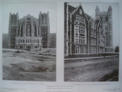 College of the City of New York: South End Great Hall and Library-Main Building and the Main Building- St. Nicholas Terrace, View from Southeast, New York, NY, 1908, Messrs. George B. Post & Sons