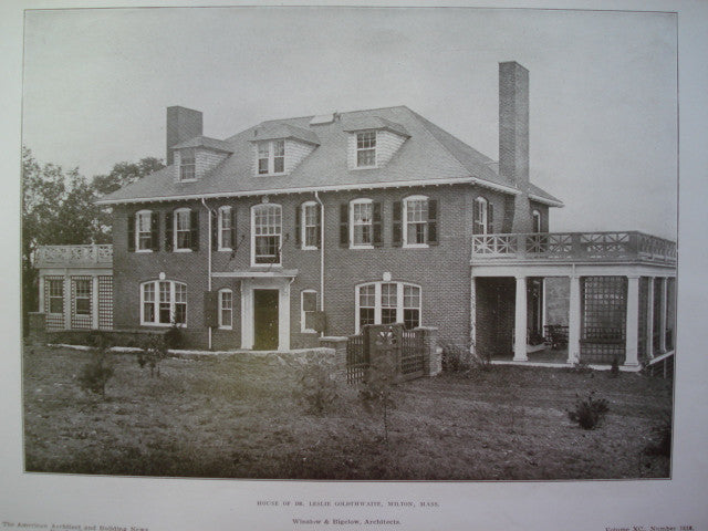 House of Dr. Leslie Goldthwaite, Milton, MA, 1906, Winslow & Bigelow