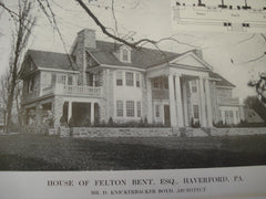 House of Felton Bent, Esq., Haverford, PA, 1913, D. Knickerbacker Boyd