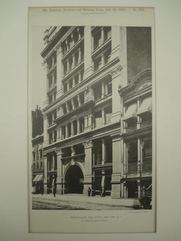 Bank Building on Wall Street , New York, NY, 1888, W. Wheeler Smith
