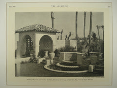 Detail of the Fountain and Garden Pavilion at the Residence of George A. Zabriskie, Esq., Ormond Beach, FL, 1930, H. M. Griffin