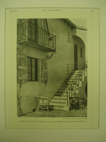Detail of the Exterior Stairway at the Residence of George A. Zabriskie, Esq. , Ormond Beach, FL, 1930, H. M. Griffin