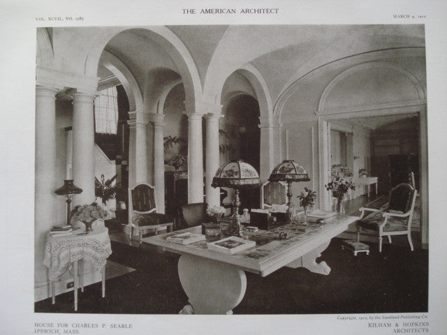 Interior of the House for Charles P. Searle , Ipswich, MA, 1910, Kilham & Hopkins