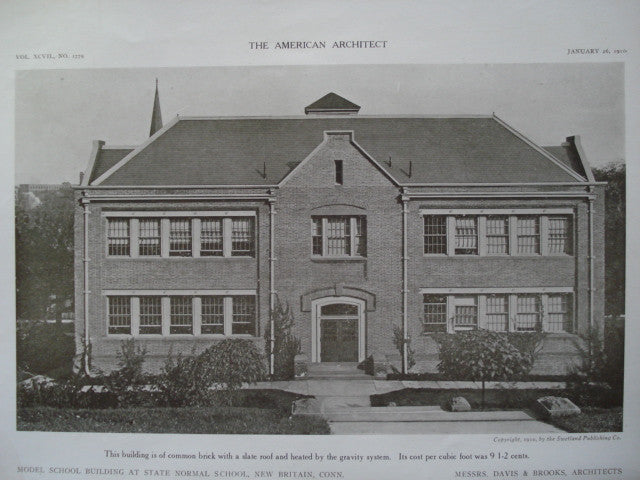 Model School Building at the State Normal School , New Britain, CT, 1910, Davis & Brooks
