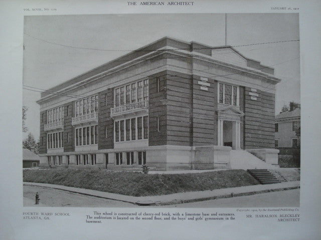 Fourth Ward School, Atlanta, GA, 1910, Haralson Bleckley