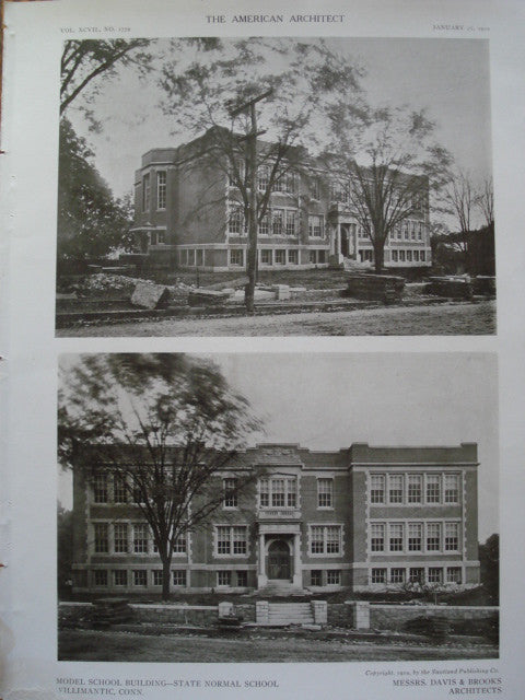 Additional Views of the Model School Building at the State Normal School , Willimantic, CT, 1910, Davis & Brooks