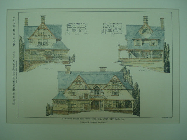 Hillside House for Frank Lord, Esq., Upper Montclair, NJ, 1899, Hapgood & Hapgood