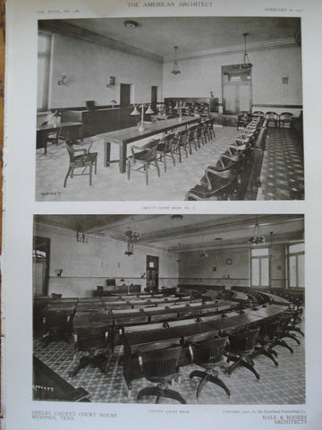 Circuit Court Room No. 3 & the County Court Room in the Shelby County Court House, Memphis, TN, 1910, Hale & Rogers