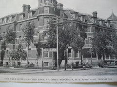Park Hotel and Old Bank, proprietor: M.K. Armstrong, St. James, MN, 1903