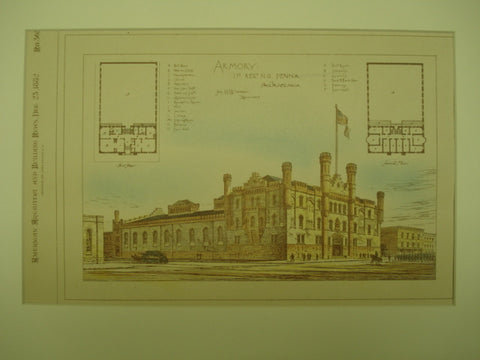 Armory of the First Regiment of the National Guard , Philadelphia, PA, 1882, Jas. H. Windrim