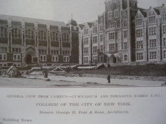 Mechanical Arts and Chemical Buildings & the Gymnasium and Townsend Harris Hall, College of the City of New York, New York, NY, 1908, Messrs. George B. Post & Sons