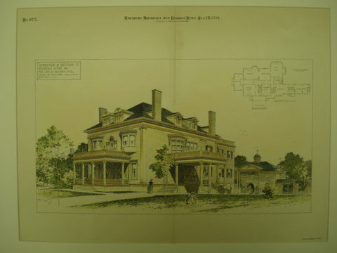 Alterations and Additions to the Residence for Geo. D. Selden , Erie, PA, 1894, Swan & Falkner