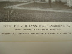 House for J. H. Lynn, Esq., Langhorne, PA, 1913, Messrs. Duhring, Okie & Ziegler