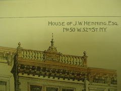 House of J. W. Henning, Esq. , New York, NY, 1893, James Brown Lord