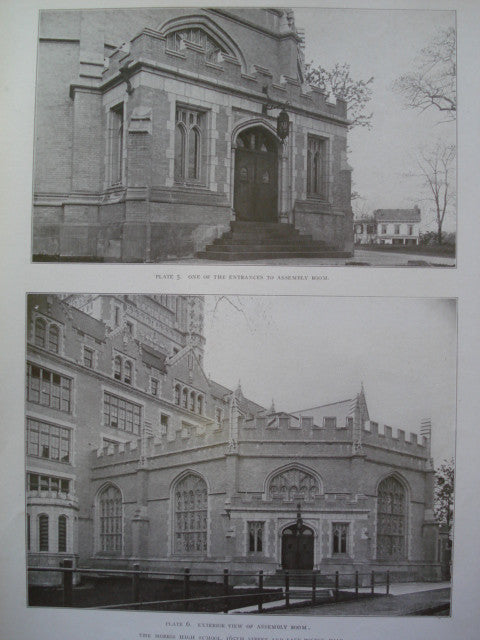 Exterior View and Entrances to the Assembly Room of the Morris High School, 165th Street and East Boston Road, New York, NY, 1908, C.B.J. Snyder