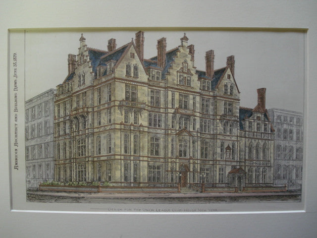 Design for the Union League Club-House, New York, NY, 1879, G.E. Harney
