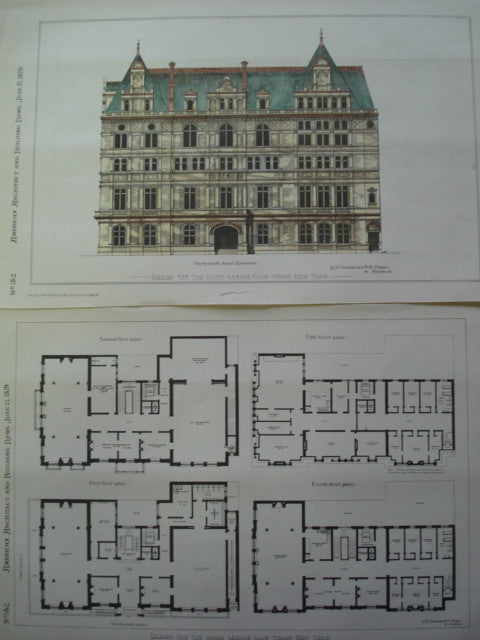 Design for the Union League Club-House, New York, NY, 1879, C.D. Gambrill & H.E. Ficken