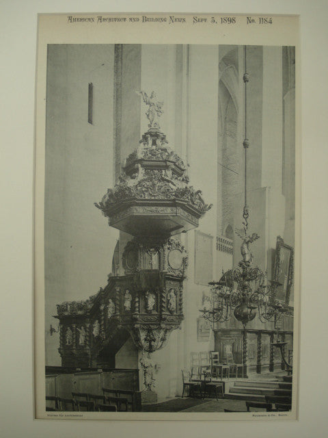 Pulpit in the Jacobkirche , Stettin, Prussia, EUR, 1898, Unknown
