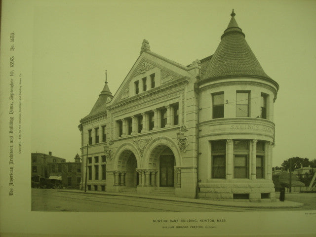 Newton Bank Building , Newton, MA, 1898, William Gibbons Preston