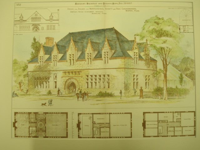 Building for the Horticultural Society and Park Commissioners, Boston, MA, 1887, Shepley, Rutan, and Coolidge