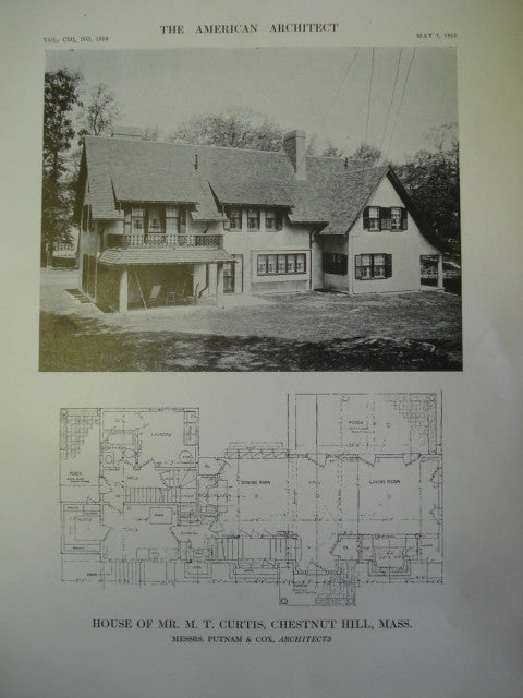 House of Mr. M.T. Curtis, Chestnut Hills, MA, 1913, Putnam & Cox
