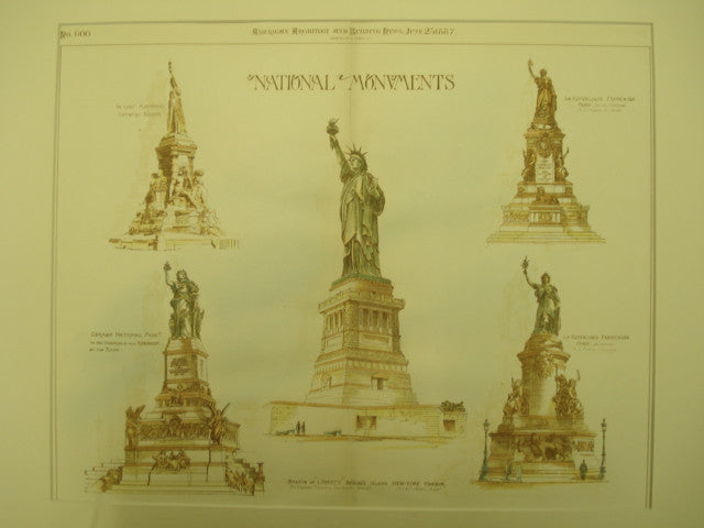 National Monuments, Statue of Liberty, NY, 1887, Original Hand Colored