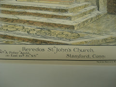 Reredos for St. John's Church , Stamford, CT, 1892, Wm. A. Potter