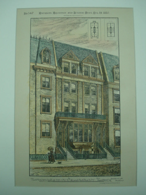 Two House at 37th Street and Park Avenue for Howard Potter , New York, NY, 1882, James Brown Lord