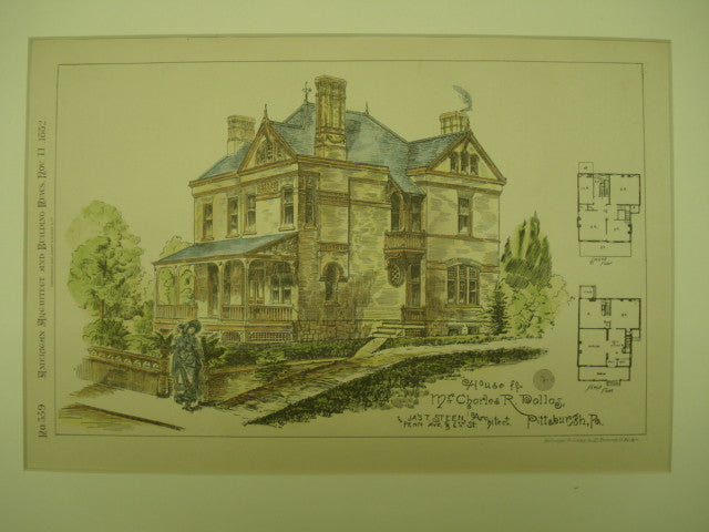 House for Mr. Charles R. Dallas , Pittsburgh, PA, 1882, Jas. T. Steen
