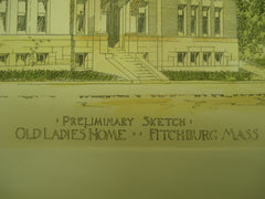 Preliminary Sketch for the Old Ladies' Home , Fitchburg, MA, 1899, H. M. Francis