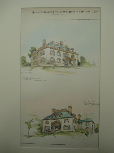 House for E. Storey Smith, Esq and the House for W. I. Bowditch, Esq, Brookline, MA, 1890, Harry M. Jones