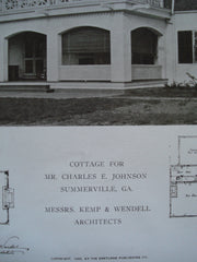 Cottage for Mr. Charles E. Johnson , Summerville, GA, 1909, Kemp & Wendell