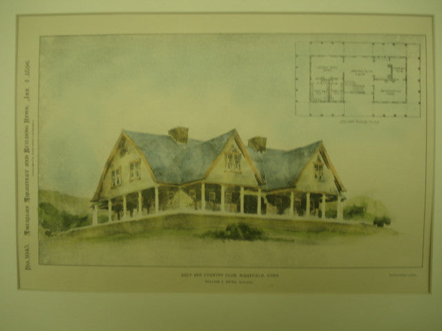 Golf and Country Club , Ridgefield, CT, 1896, William A. Bates