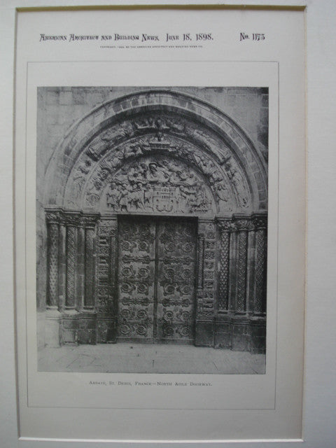 North Aisle Doorway of Abbaye, St. Denis, France, EUR, 1898, Unknown