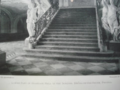 Lower Part of Staircase Hall in the Schloss, Bruhl-on-the-Rhine, Prussia, EUR, 1898, Neumann & Co