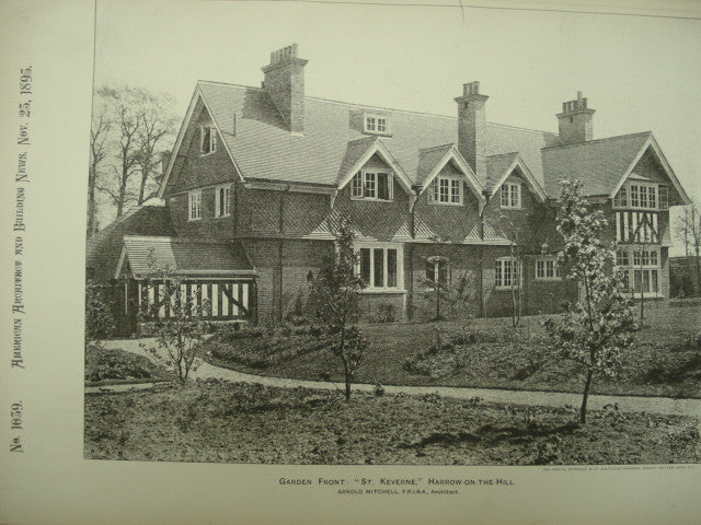 Garden Front of St. Keverne, Harrow-on-the-Hill, London, England, UK, 1895, Arnold Mitchell