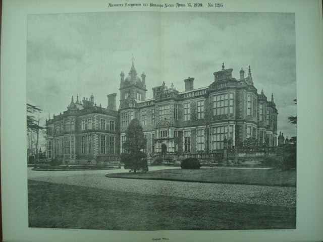 Crewe Hall, Crewe Green, Cheshire, England, UK, 1899, Unknown