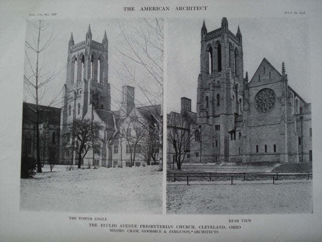 Euclid Avenue Presbyterian Church, Rear View & Tower Angle, Cleveland, OH, 1912, Messrs. Cram, Goodhue & Ferguson
