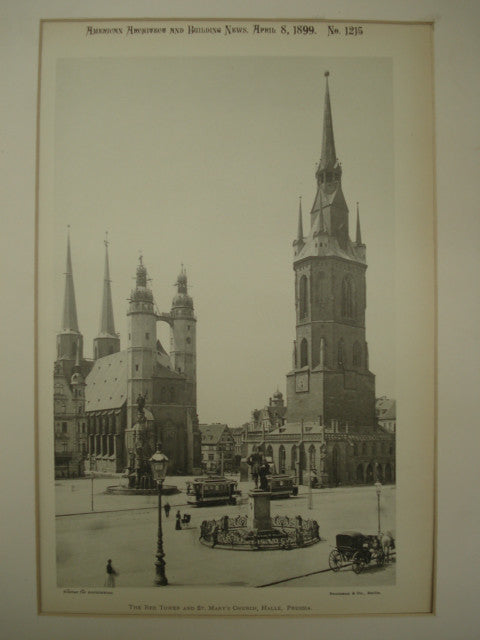Red Tower and St. Mary's Church , Halle, Prussia, EUR, 1899, Unknown