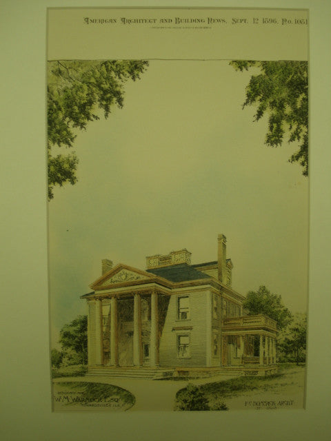 Residence for W. M. Warnock, Esq. , Edwardsville, IL, 1896, F. C. Bonsack
