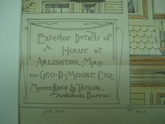 Exterior Details of the House for Geo. D. Moore, Esq., Arlington, MA, 1882, Messrs. Rand & Taylor