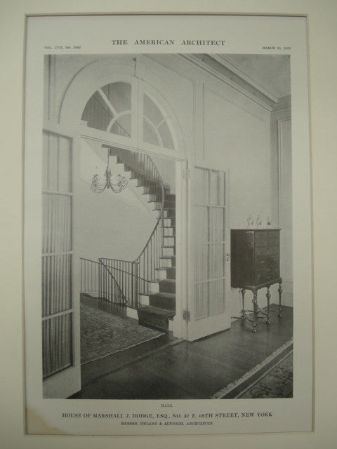 Hall in the House of Marshall J. Dodge, Esq. at No. 37 E. 68th Street , New York, NY, 1915, Delano & Aldrich