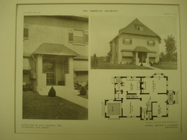 House for De Witt Hubbell, Esq., Plainfield, NJ, 1909, Messrs. Squires & Wynkoop