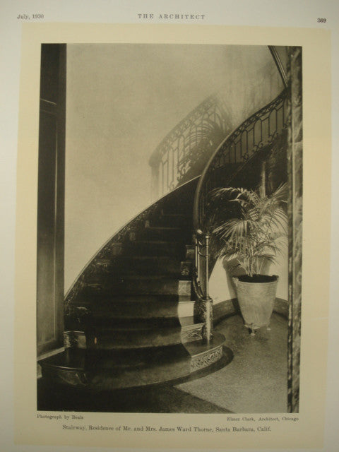 Stairway in the Residence of Mr. and Mrs. James Ward Throne , Santa Barbara, CA, 1930, Elmer Clark
